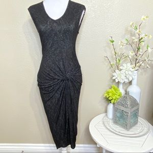 Velvet Ruched Body Con Ruched Sweater Dress M